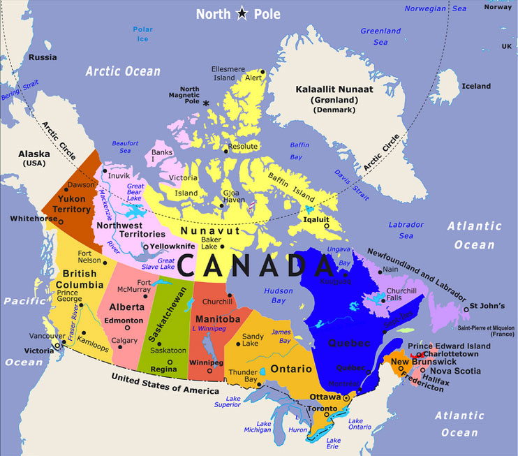 Maps Of Canada Provinces Political And Territories Pictures - Us and canada political map