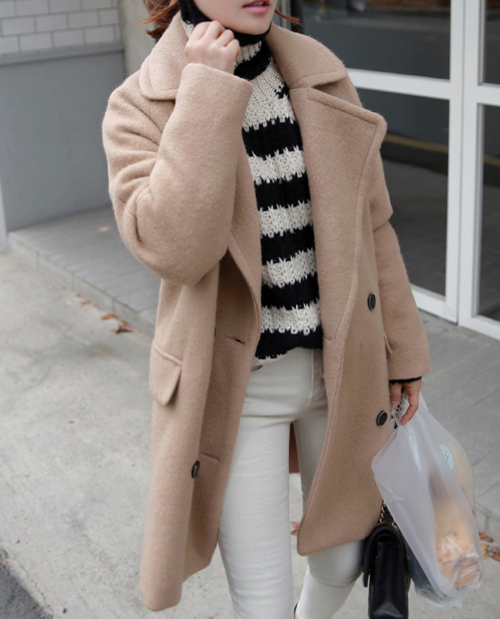 Textured Convertible Collar Coat