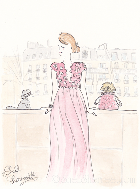 Paris fashion illustration, Flowery Flow and Fluffballs in Paris © Shell-Sherree
