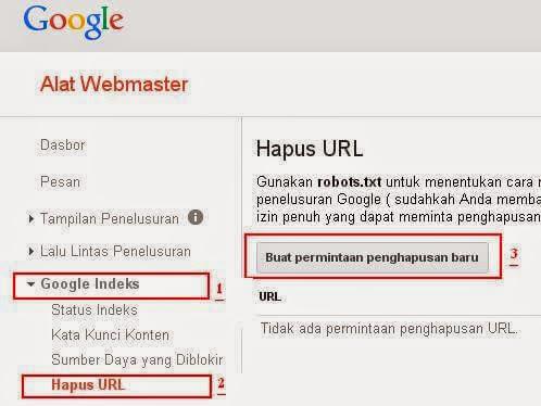 Cara Menghapus URL blog di Webmaster