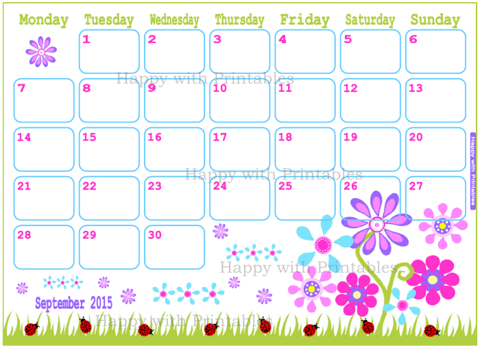 Happy With Printables Calendar : Happywithprintables september