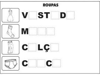 Jogos e atividades para alfabetização - Complete as palavras - Roupas