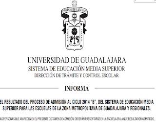 Resultados Dictamen Primer Ingreso UDG 2014 B SEMS Licenciatura Bachillerato