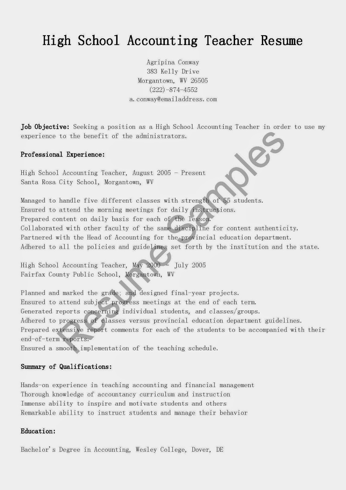 resume samples  high school accounting teacher resume sample