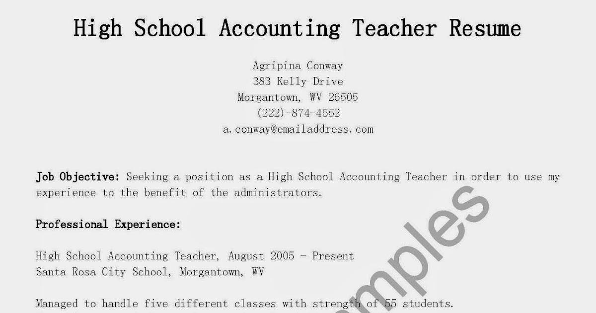 resume samples high school accounting teacher resume sample
