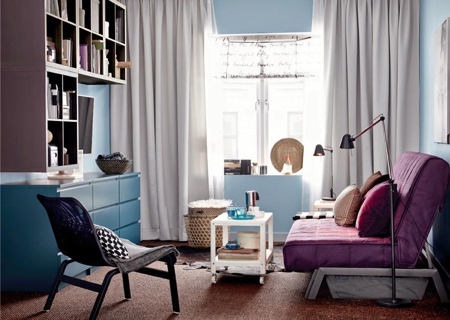 el sof cama karlaby es perfecto para integrarlo en ambientes modernos o juveniles como cama auxiliar y asiento en color un alegre color lila