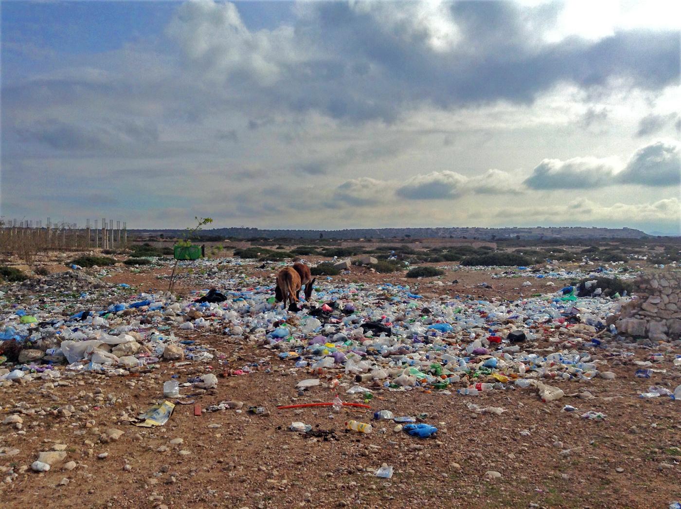 Una discarica abusiva pieni di sacchetti di plastica, Marocco (riadzany.blogspot.com)
