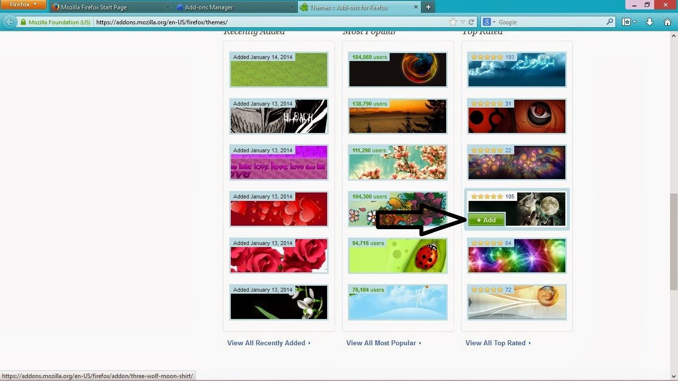 Mengubah Tema Mozilla Firefox Windows