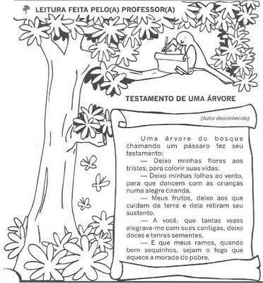 Desenhos Preto e Branco 21 de setembro dia da árvore para copiar Colorir