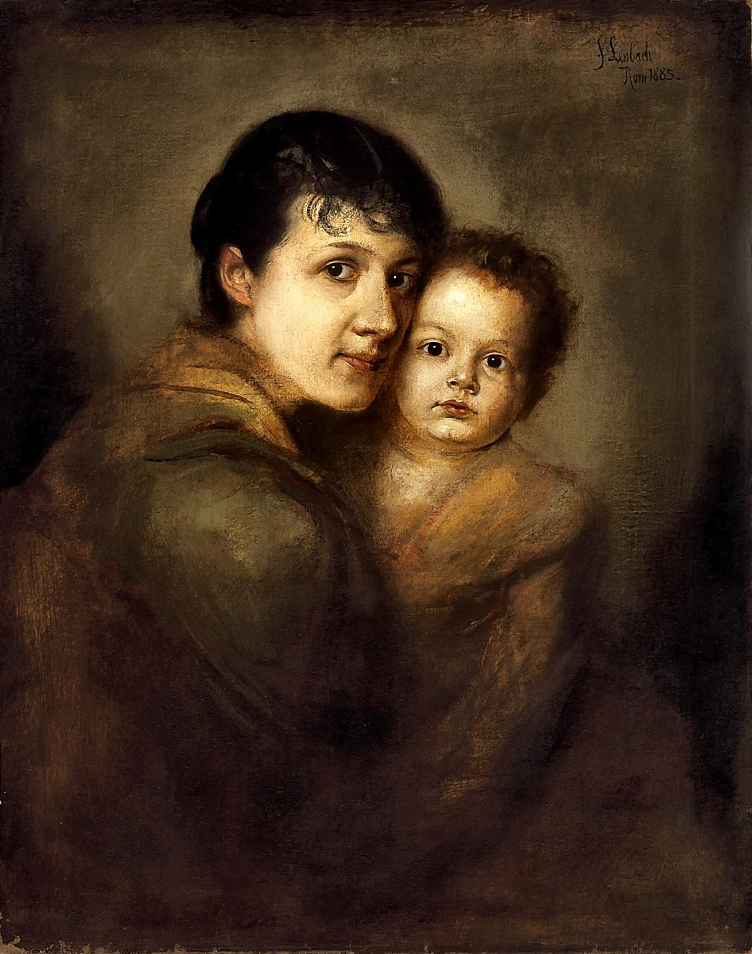 Franz  von  Lenbach  mother  with  her  child