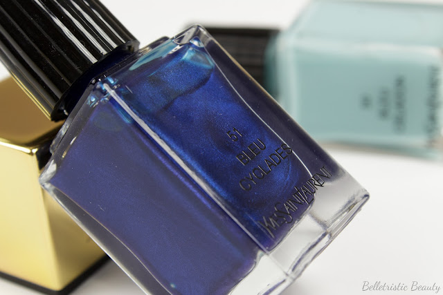 Yves Saint Laurent Bleu Cyclades #51 and Bleu Celadon #50 La Laque Couture nail polish lacquer, Bleu Lumiere Collection, Summer 2014, in studio lighting with forced flash