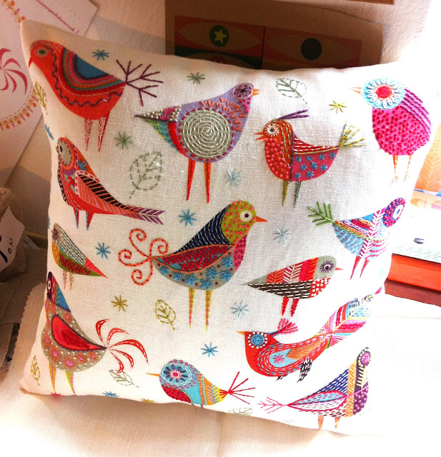 Bird Dance Cushion made up into a cushion 40 x 40 cm square