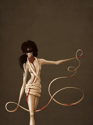 Surreal illustration of a woman with hands merged with red ribbons