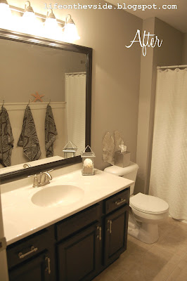 On the v side how to frame a builder mirror for Guest bathroom makeover