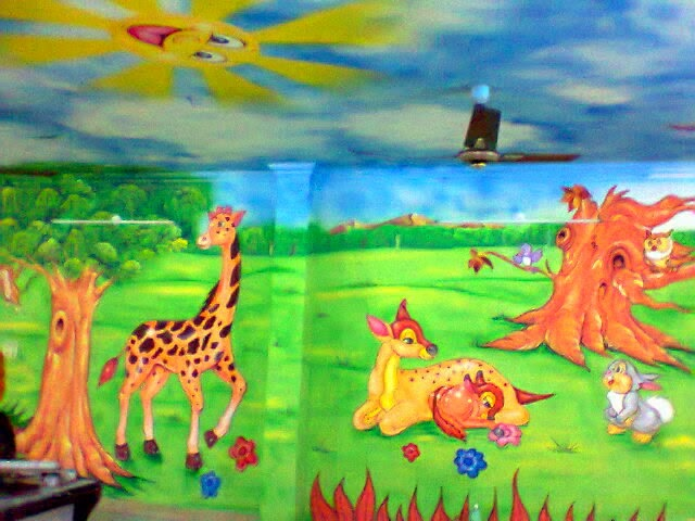 Play school wall painting 3d cartoon painting school for Cartoon mural painting