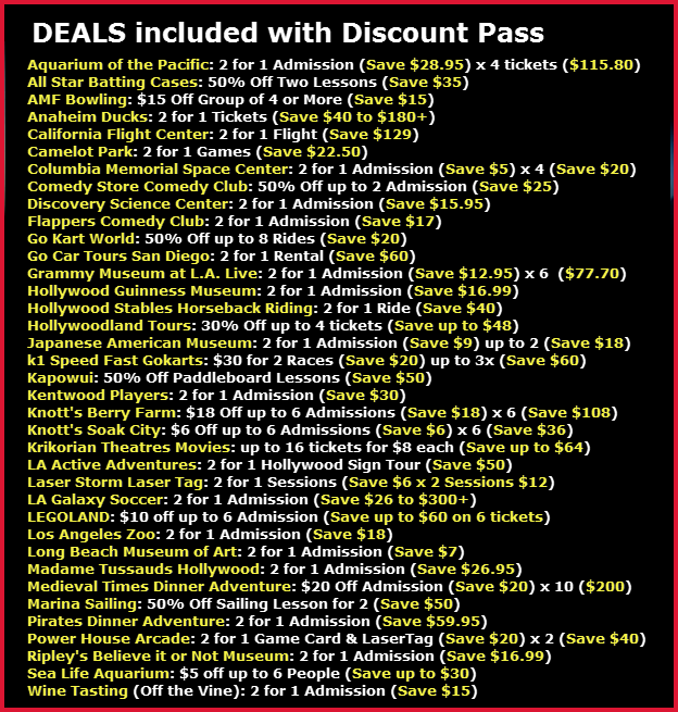 Discount coupons for the aquarium of the pacific