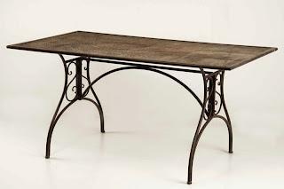 mesa rustica forja y madera