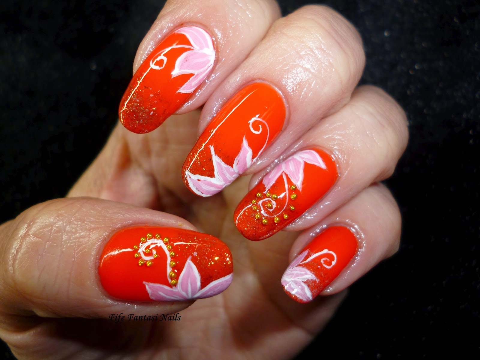 White tips with yellow and orange one stroke flower freehand nail fife fantasi nails lotus flower exotica orange flower nail art dhlflorist Image collections