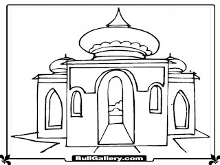 Mosque Printable Cartoon Coloring Pages