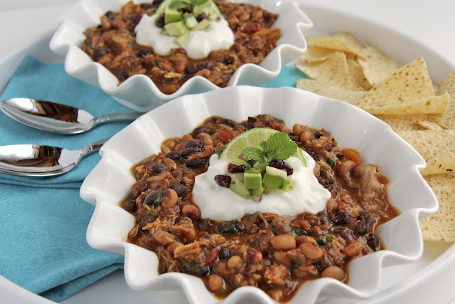 Pork and Chorizo Chili with Black Beans and Black-eyed Peas - In the south, they say that eating black-eyed peas on New Years will bring you good luck. Not so sure about that but I do know that this chili is a delicious way to celebrate any day of the year!