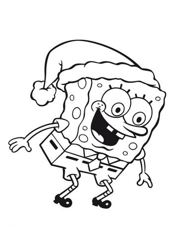 snowman hat coloring page. cartoons spongebob coloring
