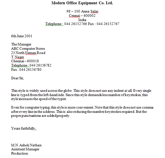 the styles and types of business letter