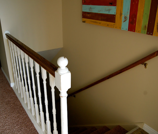 the polka dot umbrella banister and handrail refinish