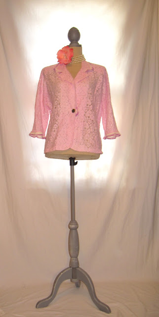 Pink Romantic Lace Women's Duster Jacket, Shabby Chic Spring Summer Blazer