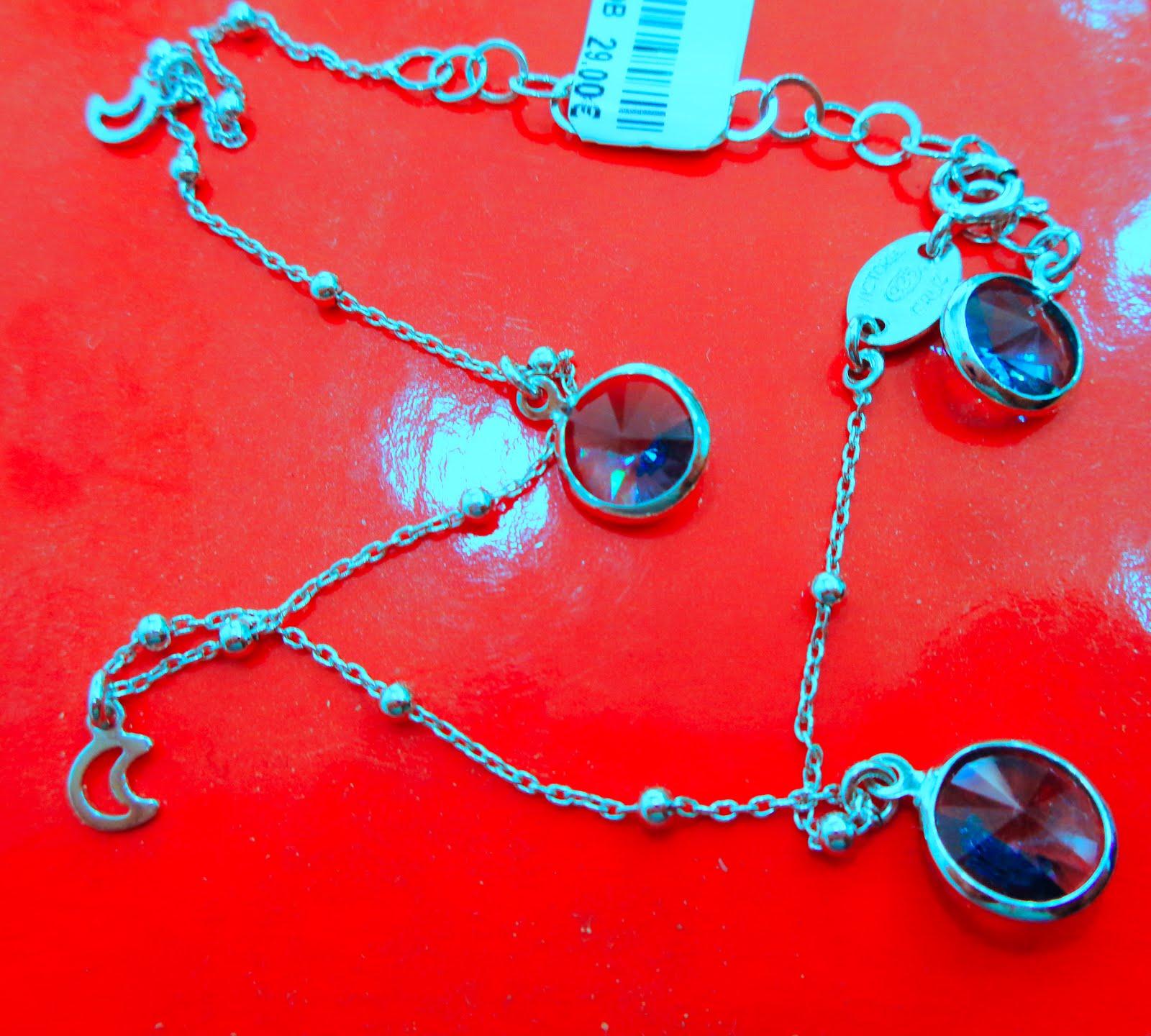 Tobillera de plata diseño Victoria Cruz