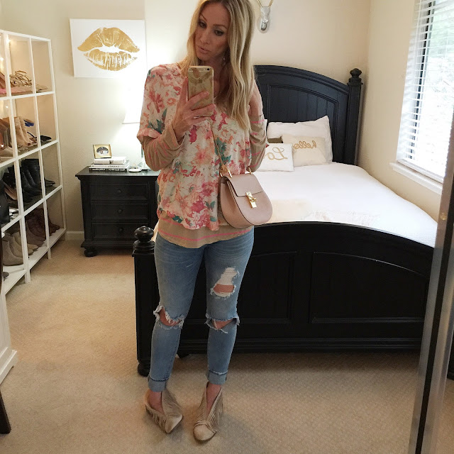 tan fringe booties ripped jeans floral top striped tee chloe bag