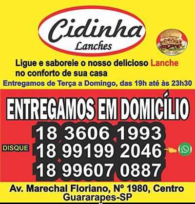 CIDINHA LANCHES, DISQUE ENTREGAS