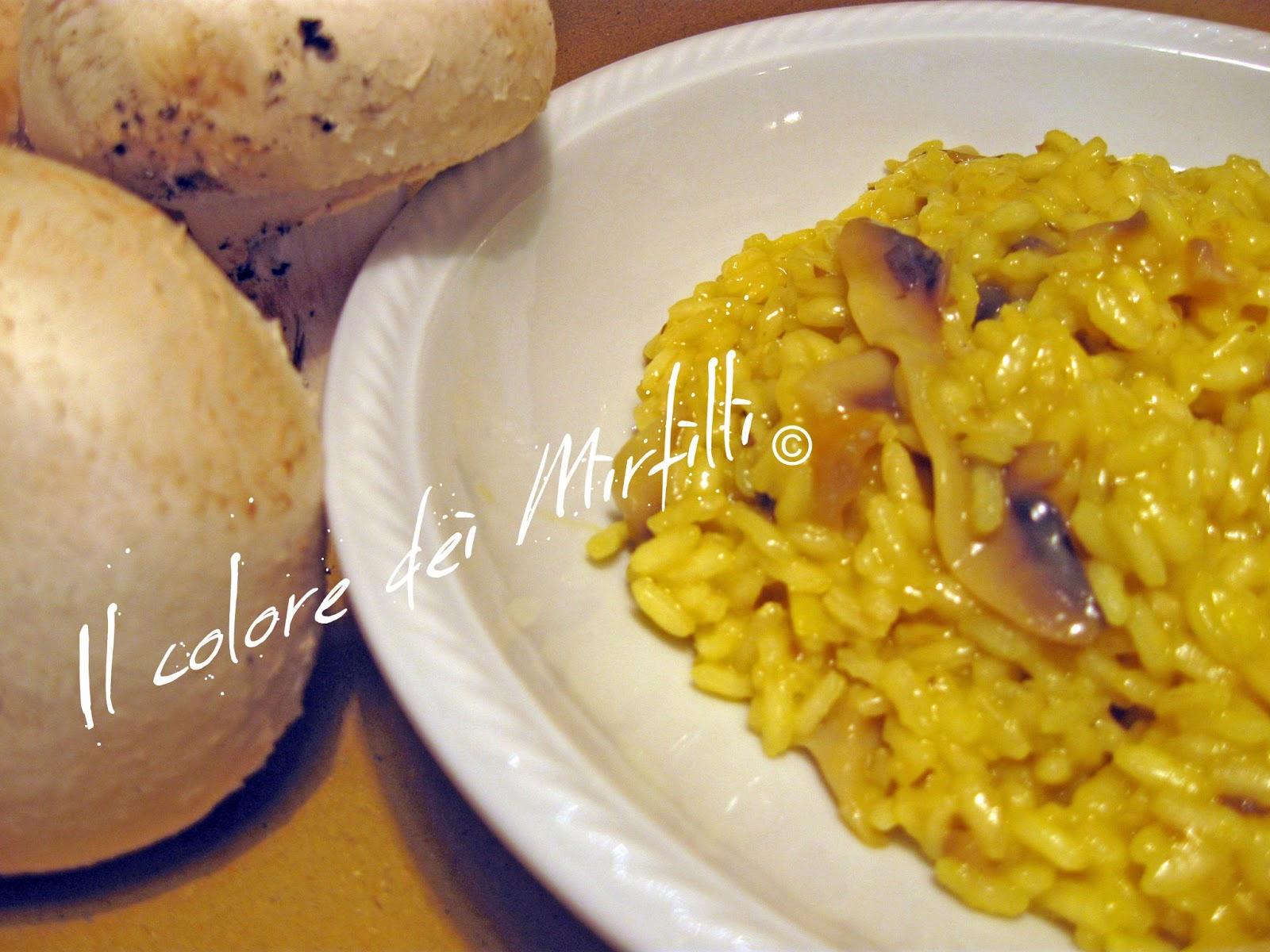 risotto funghi e zafferano, risotto, riso, funghi, zafferano, primi piatti