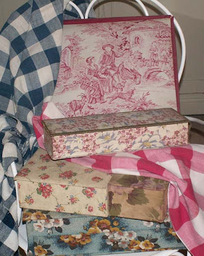 French Fabric Covered Boxes