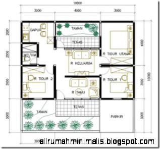 Denah Rumah Minimalis 3 Kamar Tidur Tanah 10 x 10 m2  Desain Rumah