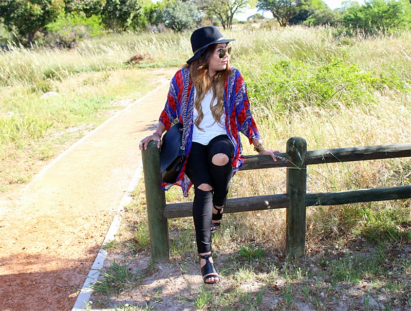 kimono ootd, ripped knee skinny, legit. lalla x legit, ray ban aviators, festival outfit, hat and kimono, fashion blogger south africa