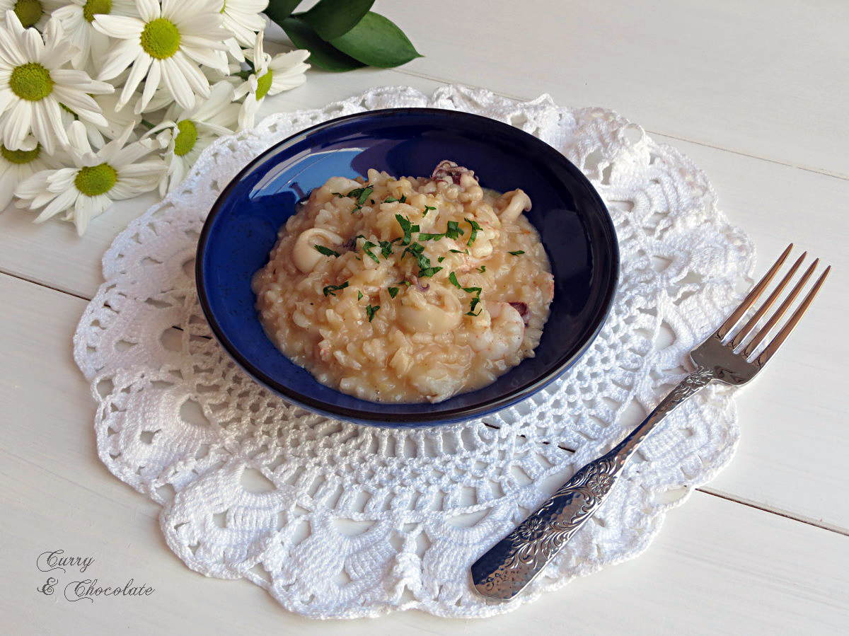 Falso risotto de chipirones y gambas  -  Fake risotto with squid and prawns