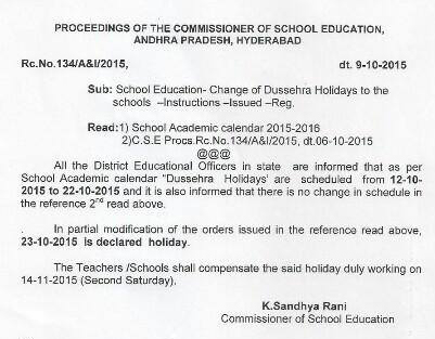 AP Rc 134 Dasara Holidays 2015 from 12.10.201 to 25.10.2015