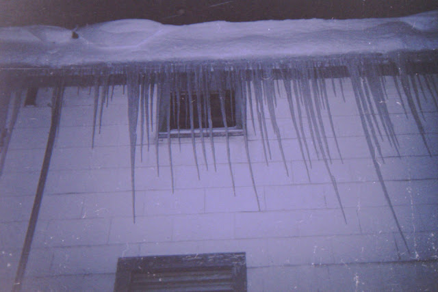 disposable camera, bad exposure, winter, snowfall, snow, winter night, nor'easter, icicles, long and sharp