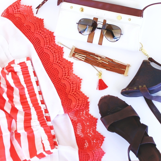 Outfit preview sneak peak: Red & White Stripes.Best fashion flatlays.Red and white stripped dress.Late summer looks.Crveno bela haljina na pruge.