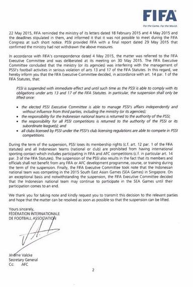 Akhirnya FIFA Resmi Menjatuhi Hukuman Untuk PSSI Per 30 Mei 2015