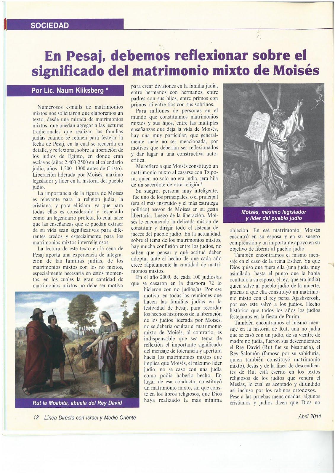 49 - Revista Israelí Linea Directa con Israel y Medio Oriente.04/2011. Artículo de Naum Kliksberg
