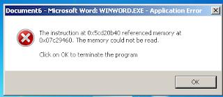 Winword.exe application error