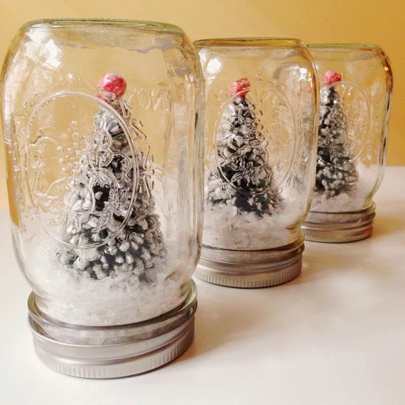 Green Bottle Brush Tree with Red Top Mason Jar Decoration (Printed Jar) shower holiday christmas party engagement rehearsal dinner centerpiece baby snow globe
