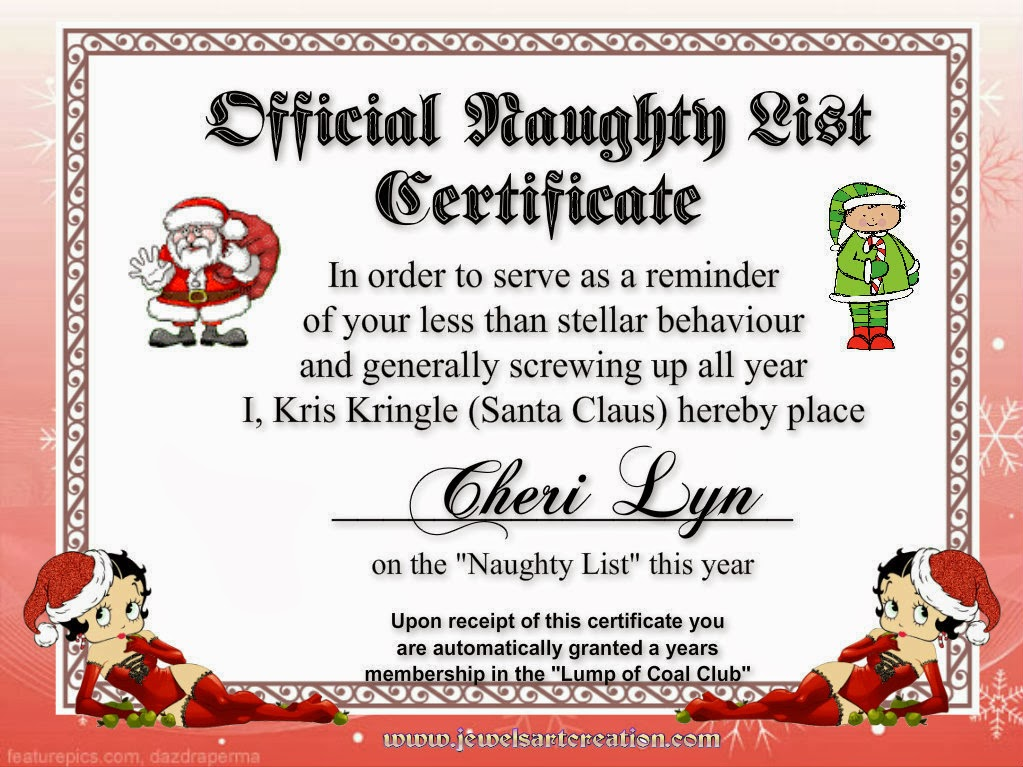 Naughty List Certificate | Search Results | Calendar 2015