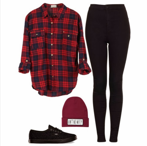 Amazing red shirt, black pants, warm hat and shoes style for fall