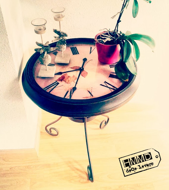 Mesa reloj vintage, look industrial, original y romántico by HMMD Table clock, industrial romantic look gift metal by Handmademaniadecor