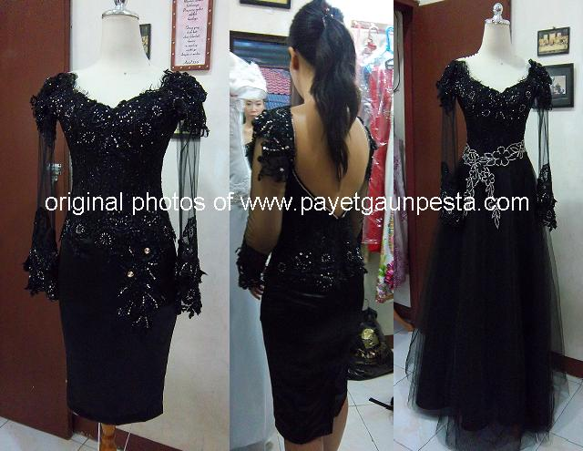 Dress Pesta Brokat Perancis Hitam Obi Payet Gold