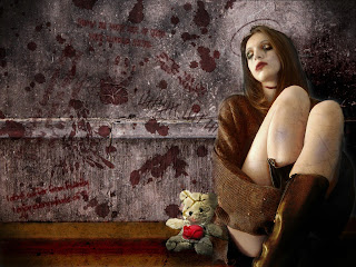 Lonely Gothic Girl With Teddy Bear Dark Gothic Wallpaper
