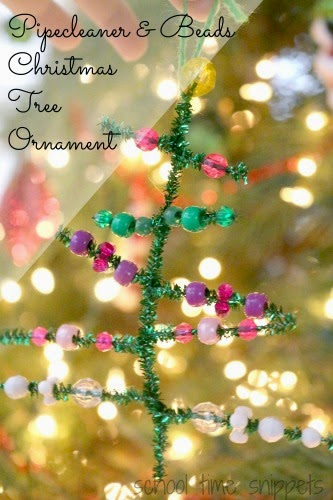 simple pipecleaner and beads christma tree ornament for kids