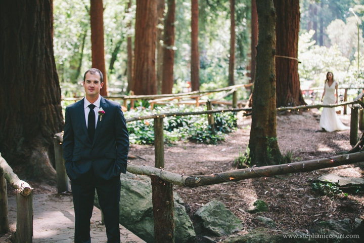 wedding day first look redwoods